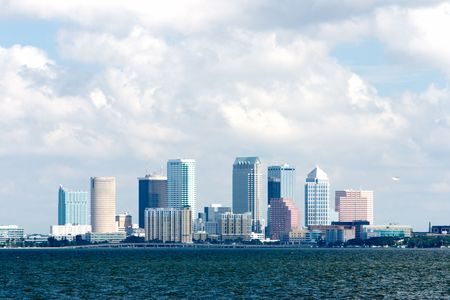 Tampa Florida skyline viewed from bay