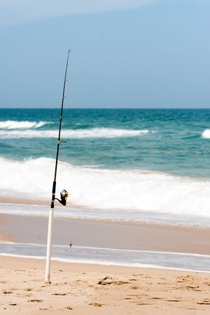 Fishing pole on beach Stock Photo - 2779313