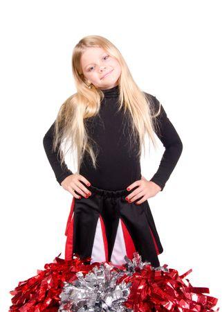 black cheerleader: Young cheerleader kneeling with her pom poms shot over white Stock Photo