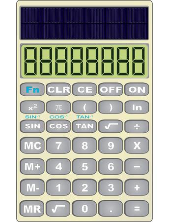 Vector illustration of a solar powered scientific calculator