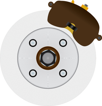 Typical automotive disc brake including rotor, caliper, and several miscellaneous parts. Similar to a common US based front wheel drive design, but not patterned after any specific real system.