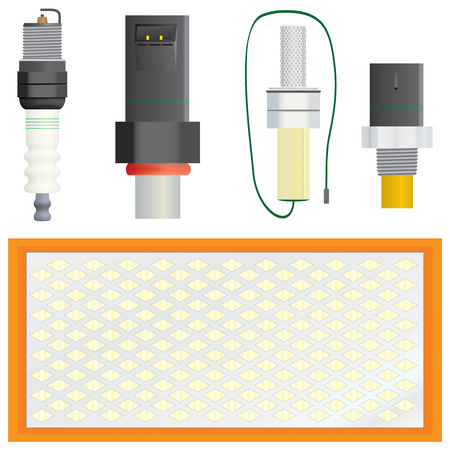 an injector: Collection of vector efficiency and pollution related automotive component parts. Includes spark plug, port fuel injector, oxygen sensor, coolant temperature sensor, and air filter (in reading order - for identification). Vector image heavy on gradients a