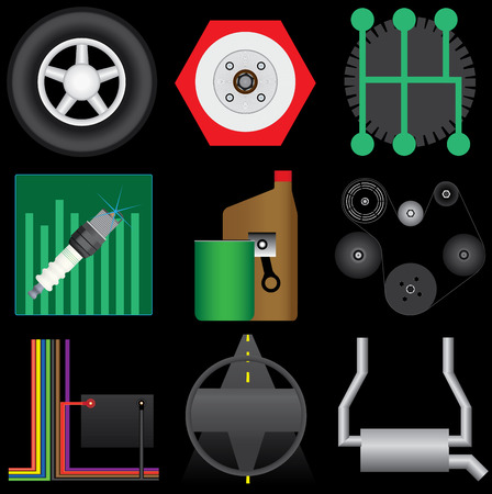Collection of automotive icons selected for service categories. Includes tire, brakes,transmisssion,tuneup,oil change,belts,electrical,steering and alignment, and exhaust. Vector