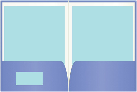 Open presentation folder with easily customizable blank paper and business card copy space.  Illustration