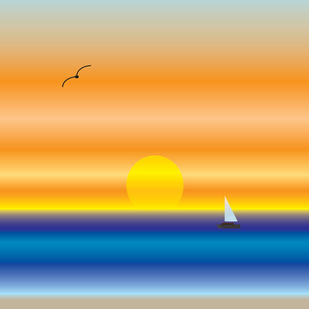Sunset over beach and water with sailboat