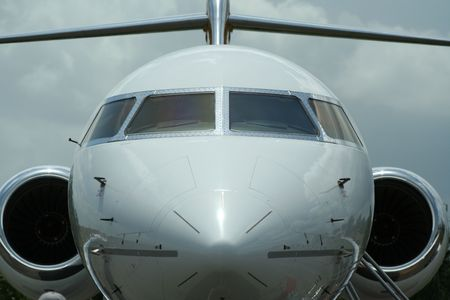 Front view of a jet plane.