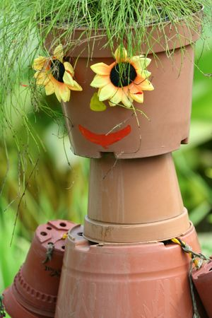 Face and flower pot.