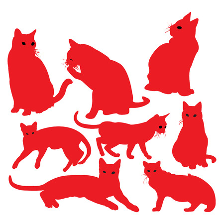 Cat in red silhouettes. Illustration