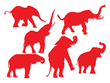 Elephant in red silhouettes.
