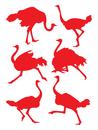 Ostrich in red silhouettes. Illustration