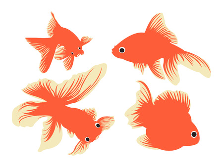 Simple outlines of gold fish. Illustration