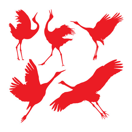 Japanese crane in red silhouettes.