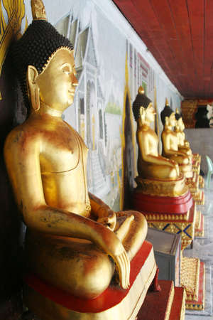 A series of Buddha figures in a Thai temple.