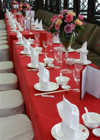 Close-up of a table set-up.