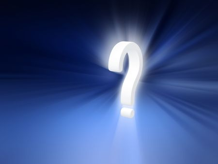 Glowing question mark against blue radiant background Stock Photo - 6856020