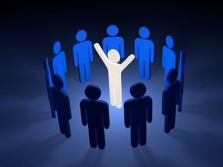 team spirit: Leader with team in circle; 3d graphic render