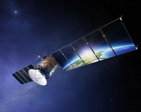 Satellite communications with earth reflecting in solar panels ( Elements of this 3d  image furnished by NASA) Stock Photo