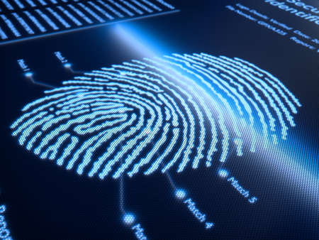 finger print: Fingerprint scanning technology on pixellated screen - 3d rendered with slight DOF