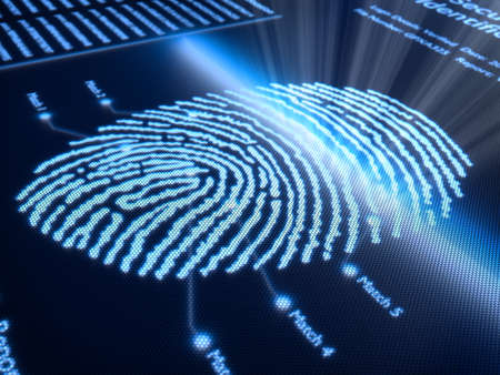 Fingerprint scanning technology on pixellated screen - 3d rendered with slight DOF photo