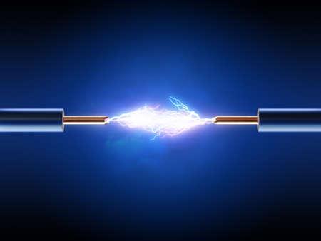redes electricas: Chispa eléctrica entre dos alambres de cobre aislados (3d)