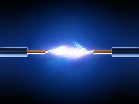 conductor electricity: Electrical spark between  two insulated copper wires ( 3d render  )