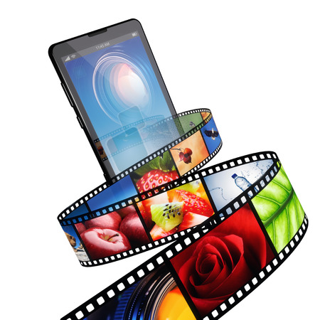 visual: Streaming video with modern mobile phone - isolated on white
