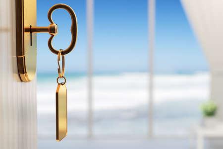 hospedaje: Habitaci�n con vista al mar - El inicio de una gran vacaciones (3d con el DOF bajo) Foto de archivo