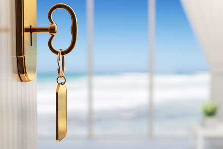 hotel door: Room with ocean view - The start of a great vacation (3d render with shallow DOF) Stock Photo