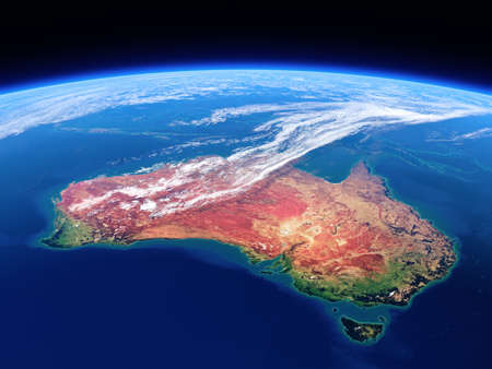 blue earth: Australia seen from space - Earth daytime series   Stock Photo