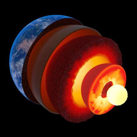 n�cleo: Estructura del n�cleo de la Tierra ilustrada con capas geol�gicas seg�n la escala - aislada en negro Foto de archivo