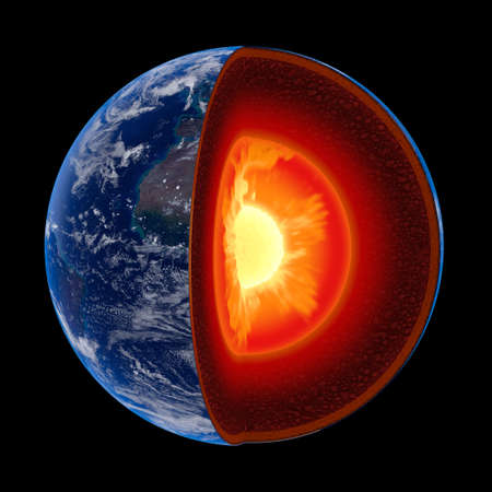 Earth core structure illustrated with geological layers according to scale - isolated on black (Elements of this 3d image furnished by NASA -  source maps from http:visibleearth.nasa.gov)