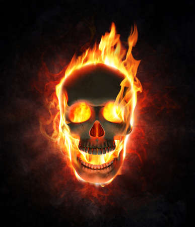 Evil skull burning in flames - 3d render photo