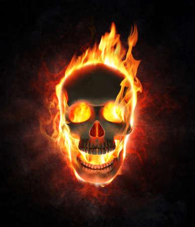 fire skull: Evil skull burning in flames - 3d render