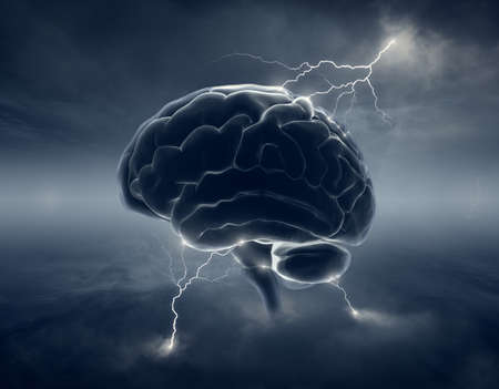 cloudscape: Brain in stormy cloudscape and lightning - conceptual of brainstorm