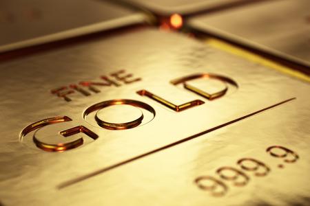 dof: Gold Bars Close-up with shallow DOF (3D artwork)
