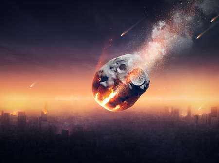 wereldbol: Stad op aarde verwoest door meteorenregen - 3D kunstwerk -conceptual wereldwijde ramp Stockfoto