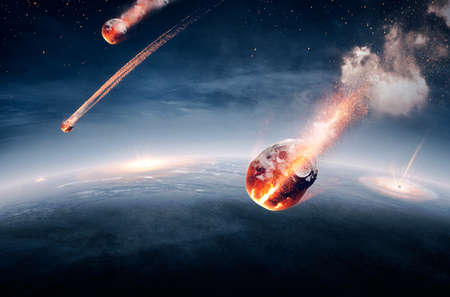 end of the trail: Meteorites on their way to earth and breaking through atmosphere (Elements of this image furnished by NASA- earthmap for 3Drender) Stock Photo