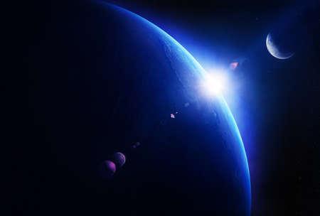 sonne mond und sterne: Sonnenaufgang Erde mit Mond im Weltraum