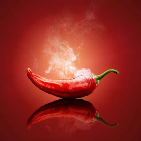 red chili pepper: Hot chili red smoking or steaming with reflection Stock Photo