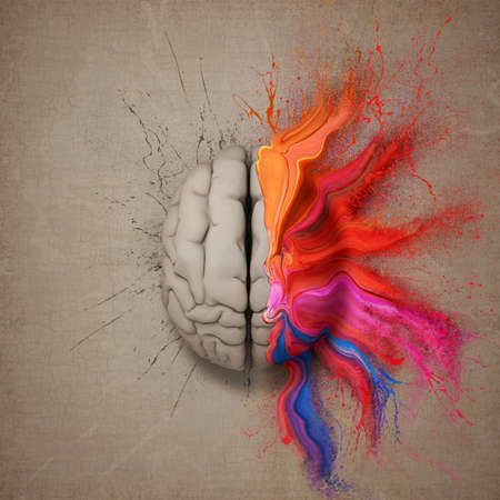 right side: Creative mind or brain illustrated with colourful paint splatter and dispersion. Conceptual computer artwork.