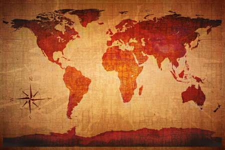 textured paper: World Map on old grungy antique and yellow cracked paper background (Map derived from http:visibleearth.nasa.gov ) Stock Photo