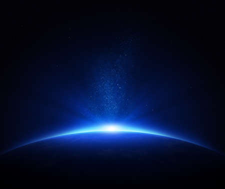 outer space: Earth - sunrise in deep blue space