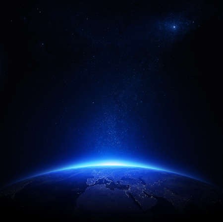 Earth at night with city lights  Elements of this image furnished by NASA