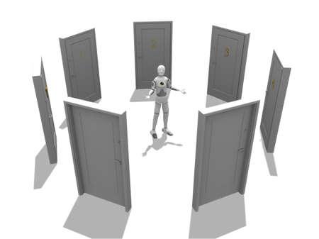 many doors: Crash test dummy with many doors over a white background