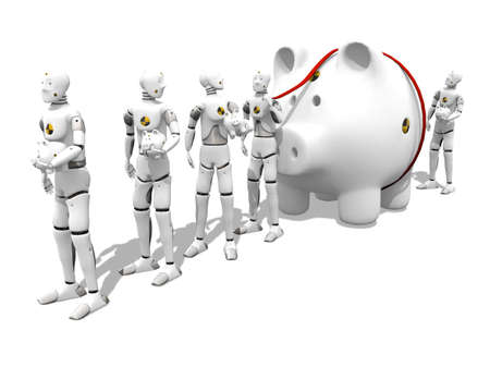 Dummy with a giant piggy bank in a lone to the bank over white background Stock Photo