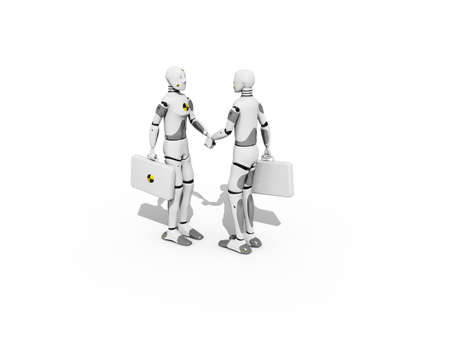 honest: Crash test dummies shaking hands over a white background