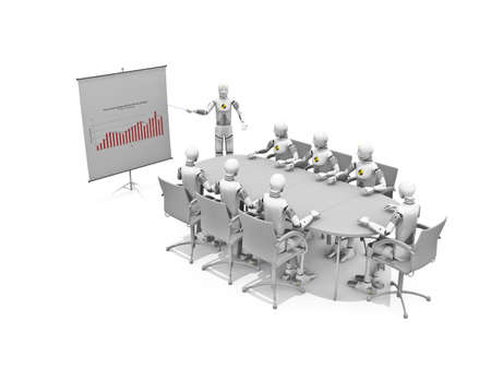 sucess: Crash test dummies in a meeting over a white background Stock Photo