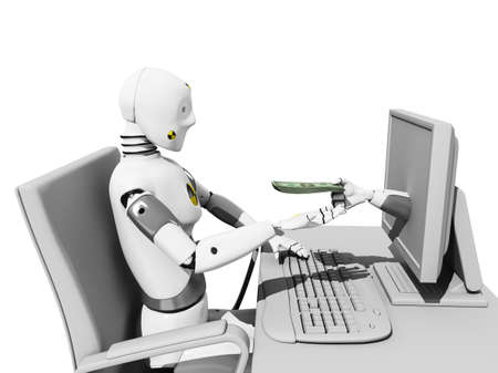 crash test dummie receiving money from internet in his desk over a white background Stock Photo