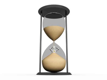 sand clock: Crash test all'interno di un manichino di sabbia orologio su uno sfondo bianco Archivio Fotografico