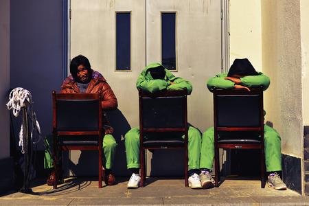 backstreet: Workers taking rest at backstreet